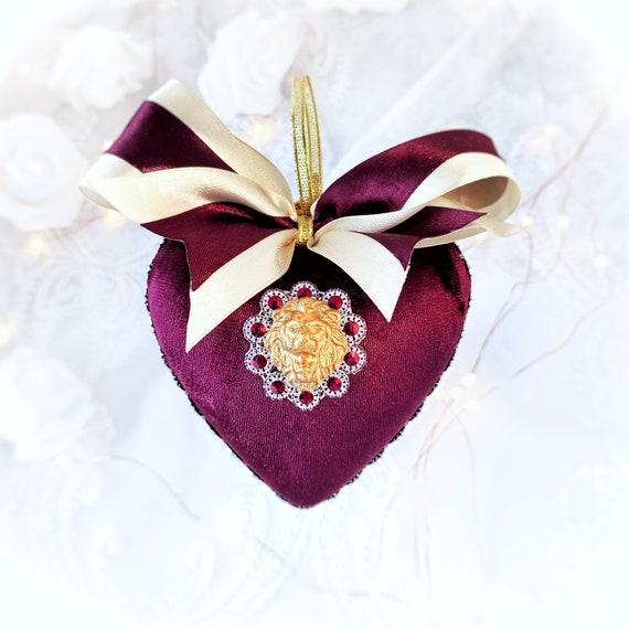 Velvet Christmas ornament handmade vintage burgundy beige heart-shaped bauble gold LION bow rhinestones, tree decoration zodiac symbol gift