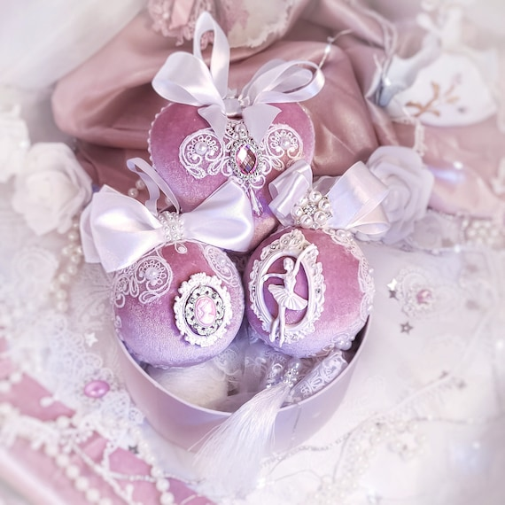 Velvet Christmas ornaments set of 3 handmade lace vintage pink white baubles, stucco ballerina, Victorian shabby chic tree decorations gift