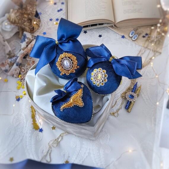 Velvet Christmas ornaments set of 3 handmade vintage dark-blue baubles with gold OX / BULL, rhinestones, tree decorations year symbol gift