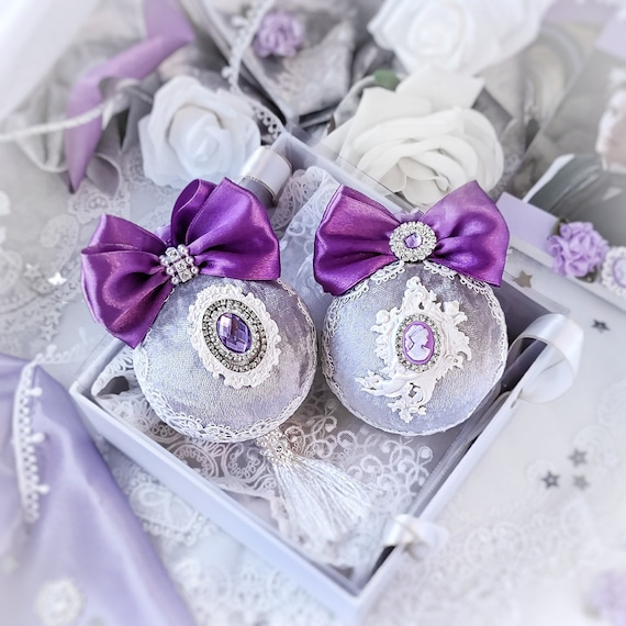Velvet Christmas ornaments set of 2 handmade fabric vintage gray violet baubles with rhinestones, Victorian shabby chic tree decoration gift