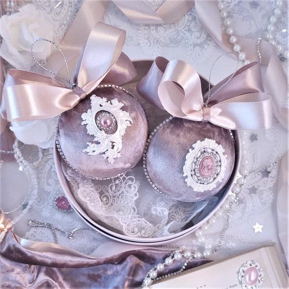 Velvet Christmas ornaments Set of 2 mocha baubles
