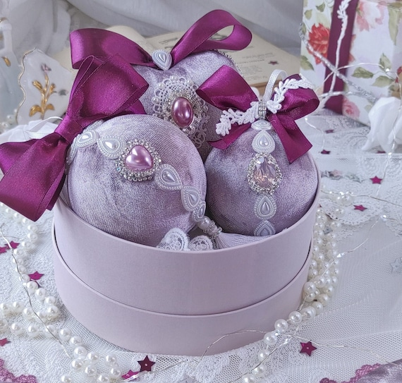 Velvet Christmas ornaments set of 3 handmade vintage lavender baubles with pearls, heart rhinestones, laces and tassel Victorian shabby chic
