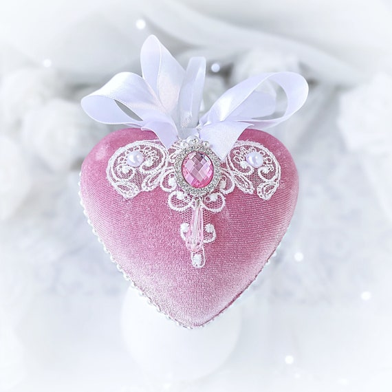 Velvet Christmas ornament handmade lace vintage pink white heart-shaped bauble silver rhinestone, Victorian shabby chic tree decoration gift