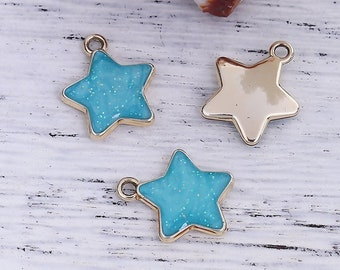 Package of 18 Turquoise Metal Star Charms