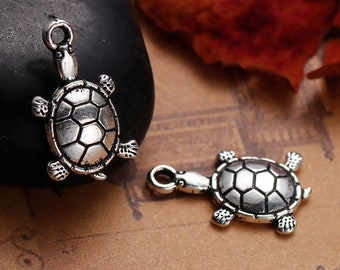 19x13MM Turtle Charm Double Side Stainless Steel Charm 2 Pcs Bulk Lot Options 61401-2094