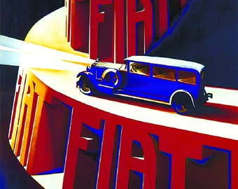 Italy Red Car Factory Fiat 509 Centauro Strong Automobile Vintage Poster Repro