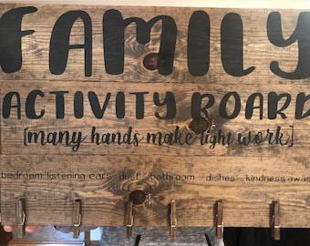 Family activity chore board