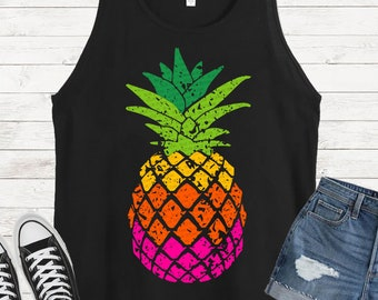 Knotted ombre pineapple keychain with a meal lobster claw clip fruit food tropical sweet leaves colorful bright summery summer knots