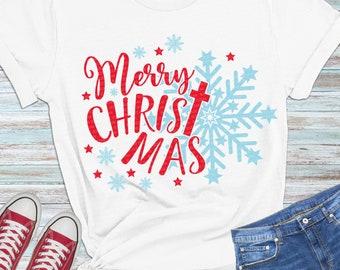 Merry christmas SVG, Christmas SVG, Christian SVG, Jesus svg, religious svg, cross svg, snowflakes, digital cut files