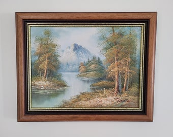 Oil Painting on Canvas Framed Singed Nathan  Waterfall Landscape