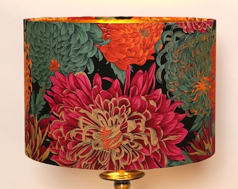 Handmade Lampshade, Chrysanthemum, Floral, Red, Orange, Green, Gold, Modern and Contemporary