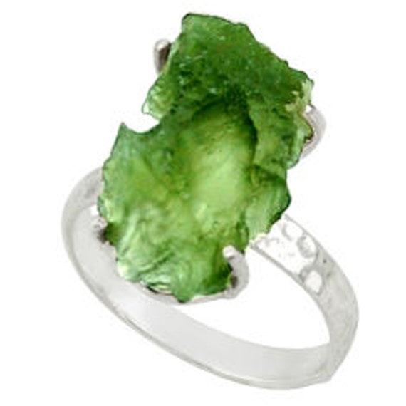 Moldavite Rough Natural Gemstone 925 Solid Handmade Sterling Silver Ring