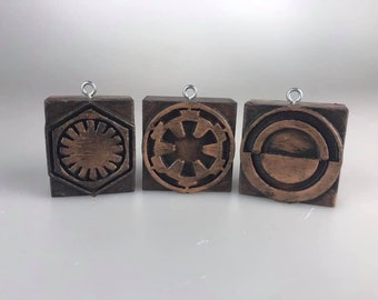 Star Wars wood letterpress Ornament Set (First Order, Galactic Empire, Crimson Dawn)