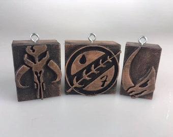 Star Wars wood letterpress Ornament Set (Mythosaur Skull, Fett Crest, Mudhorn Skull)