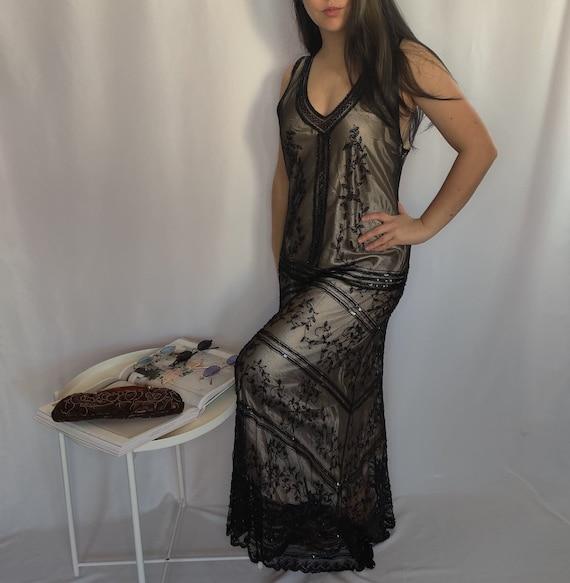 Vintage Maxi Black Beaded Dress
