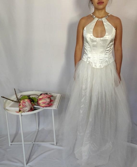 Vintage White Corset Maxi Dress (Wedding Dress)