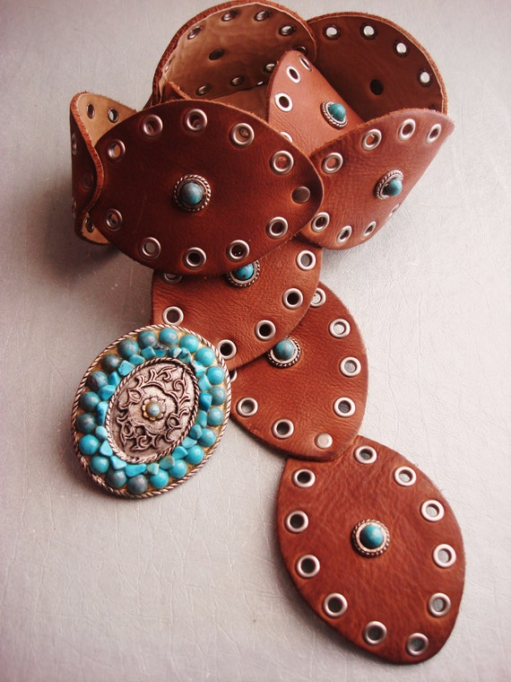 TURQUOISE CONCHO LEATHER Belt