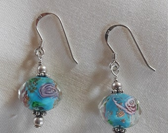 Sterling silver earrings with vintage glass beads and decorative sterling fittings