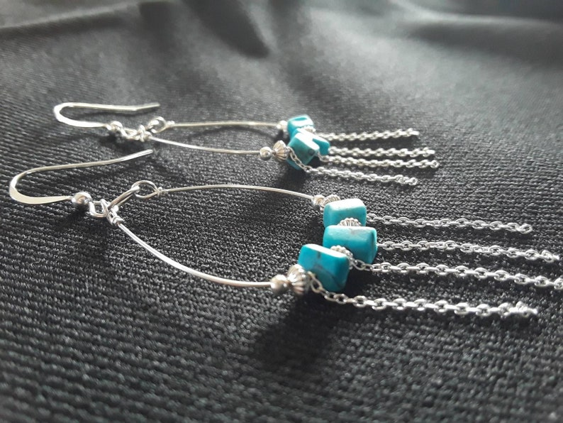 Boho Sterling silver and Chainlink Chandelier earrings with Turquoise accents.