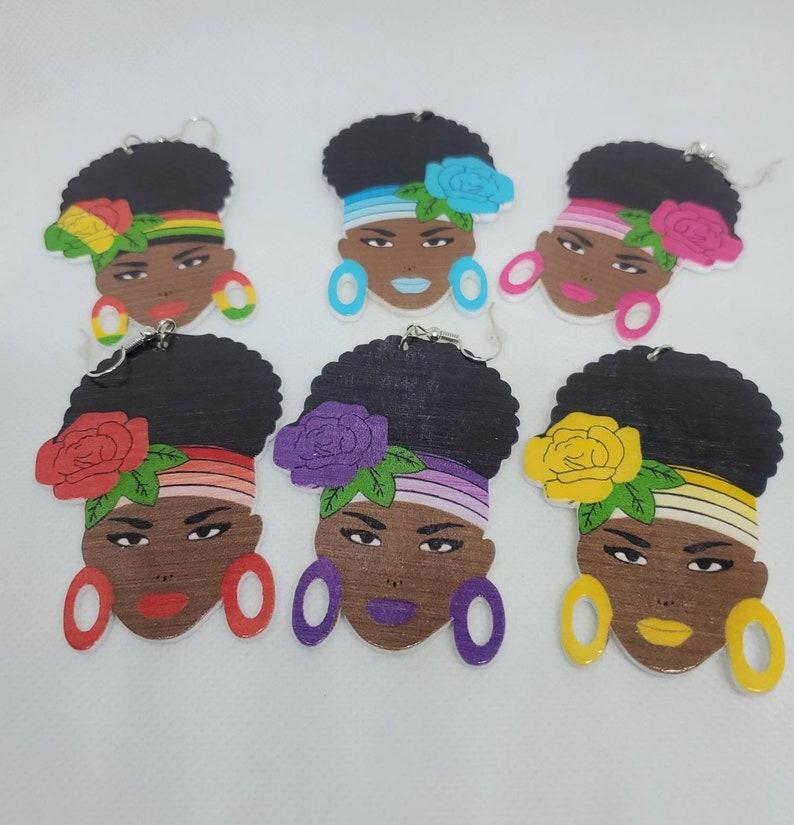 Drop Wooden Earrings Dangle Earrings Wooden Earrings Mother/'s Day Gift for Mom Afrocentric Wooden Earrings Birthday Gift for Daughter