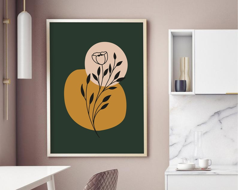 Bedroom wall art Botanical poster Minimalist wall art Printable wall art Minimalist one line drawing plant poster Abstract art print