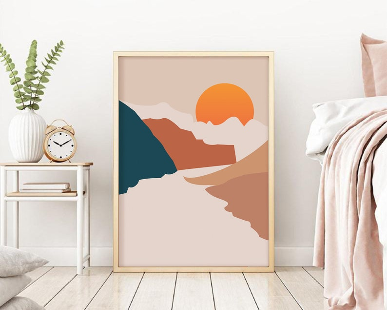 Abstract Mountains Poster Abstract River Wall Art Minimalist Landscape Art Print Sun Landscape Art Print Boho Art