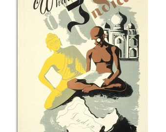 Vintage poster What About India 1930s