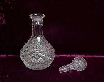 Hand Blown Clear Hobnail Decanter