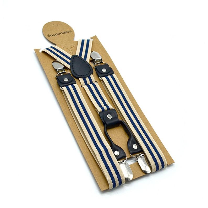 Striped Suspenders Men Beige Shirt Belt 4 Clips Y Back Mens Trousers Suspenders Braces Male Pants Strap 2.5cm*120cm