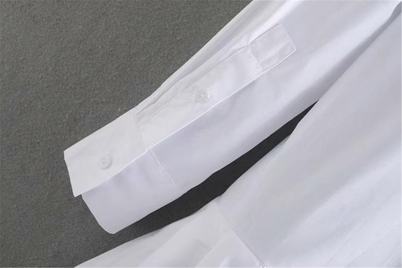 Women solid color hem pleated white mini dress elegant long sleeve chic business women clothing dresses