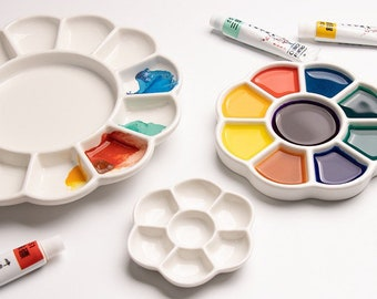 "Fine Ceramic Palette Artist Watercolour Painting ""Plum Blossom"""