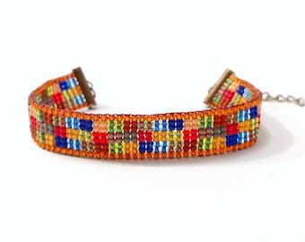 CROSS: bead loom bracelet beaded anklet boho anklet boho bracelet