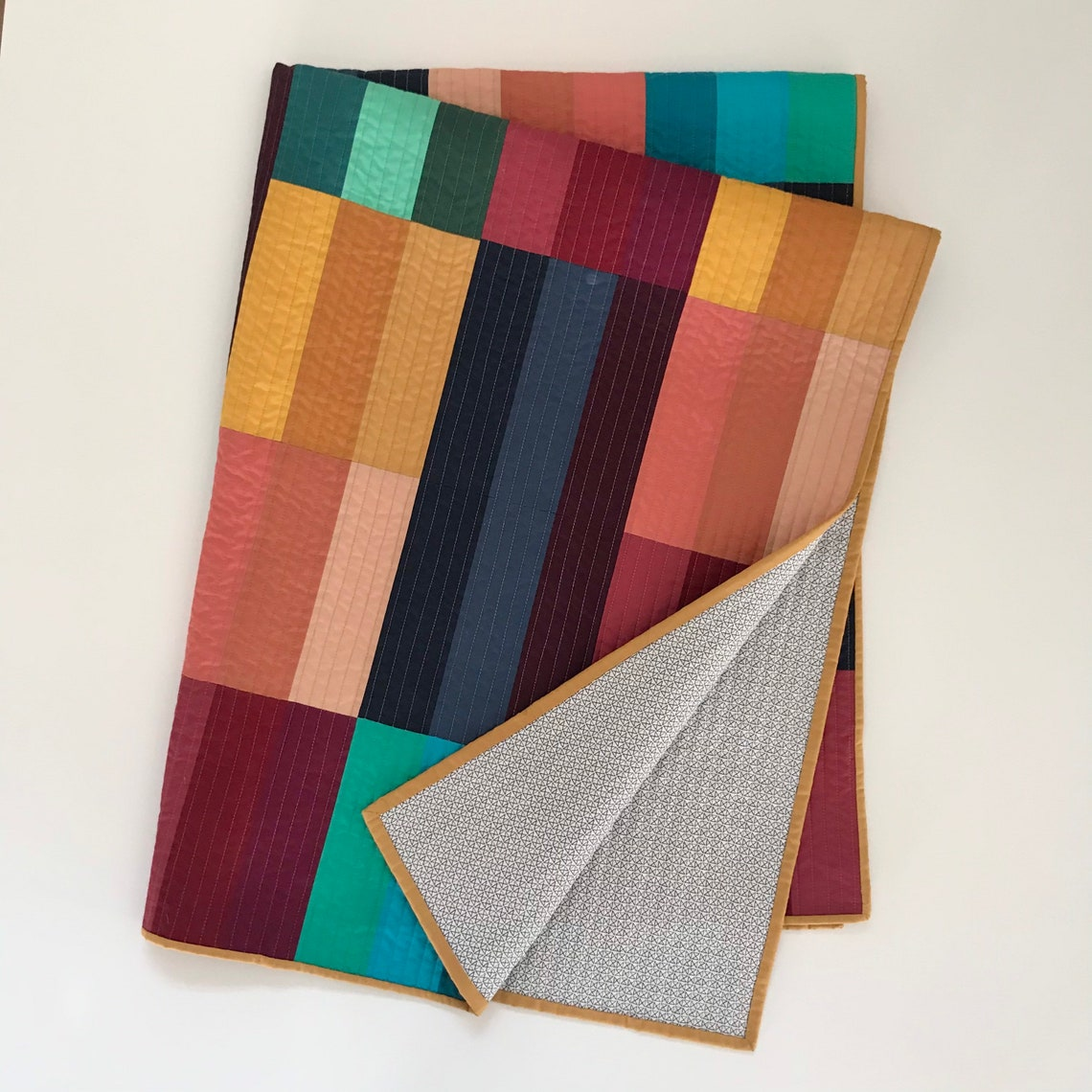 modern color block quilt quilted throw blanket made to  etsy