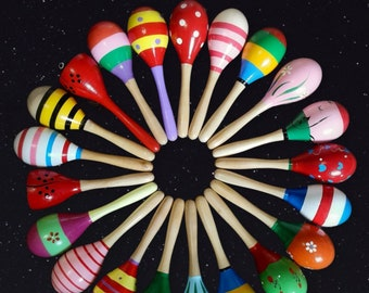20cm Colourful Wooden Maraca - Rattle Shaker Sensory Toy For Kids - Music Shaker for Toddlers Attention & Colour Visual