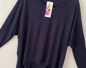 Made In Italy Loose Batwing Lagenlook Oversized off the shoulder navy blue colour casual top blouse one Size 10-16