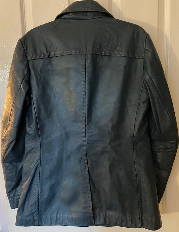 VINTAGE LEATHER JACKET - mens blue leather - image 2