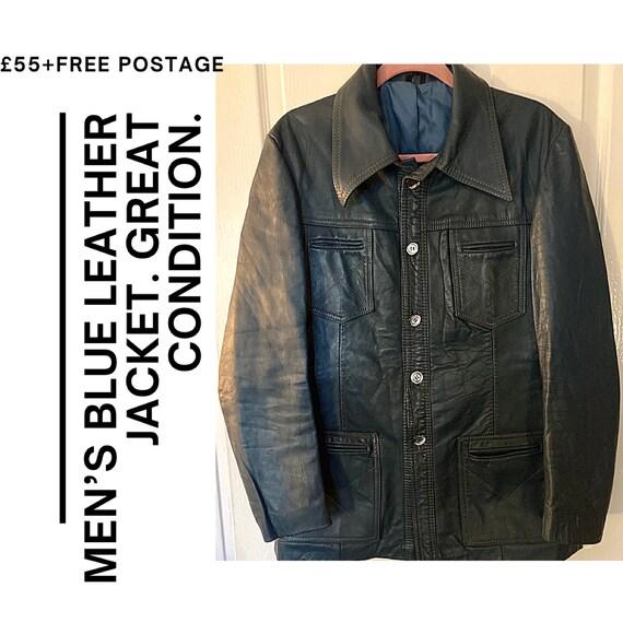 VINTAGE LEATHER JACKET - mens blue leather - image 1