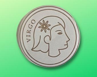 """Virgo Zodiac Sign Pinback Button (1.5"""")"""