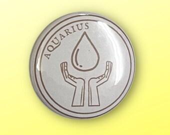 "Aquarius Zodiac Sign Pinback Button (1.5"")"