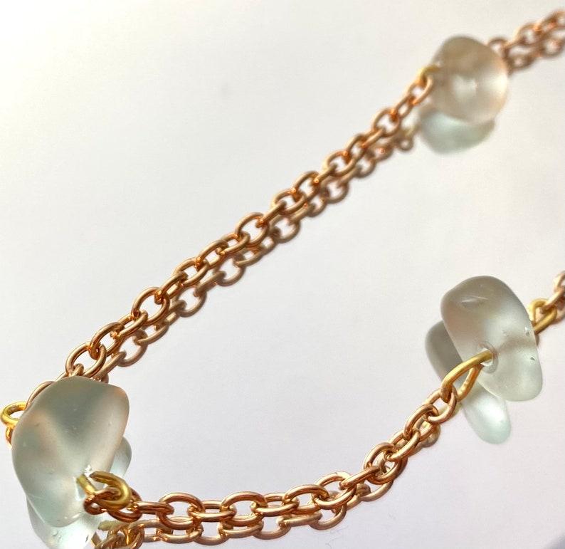 Light blue sea glass bead gold chain necklace adjustable Handmade