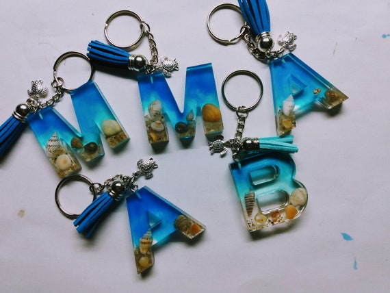 free shipping EU shells under the sea bag accessories resin Resin letter O keychain