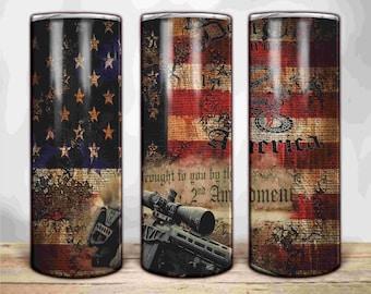 Patriotic Flag 2nd Amendment | Digital Tumbler Templates | 20oz 30oz Skinny | Tapered | Straight | Digital Download |