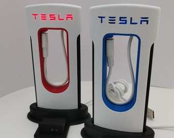 TESLA LED Supercharger Light Up Desk Phone Charger Stand iPhone / USB-C Accessory