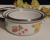 white enamel pan with fruit prints made in Indonesia