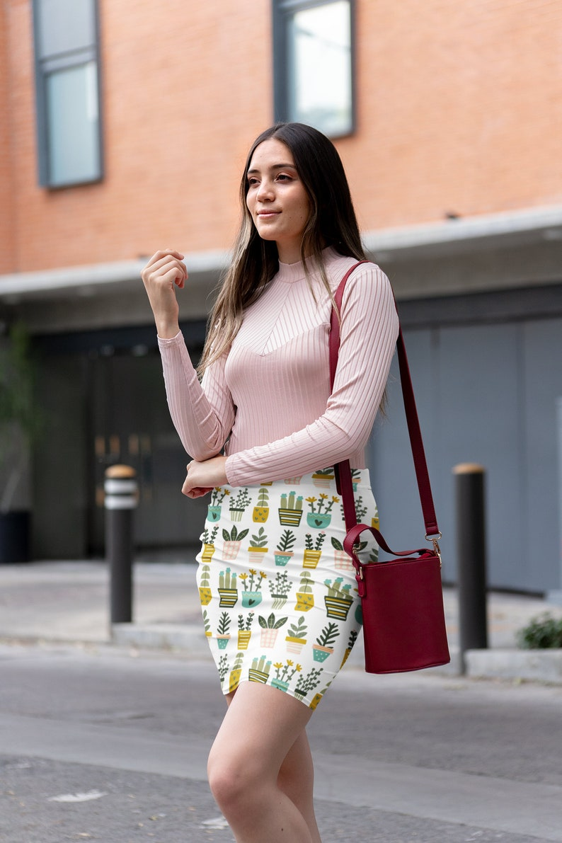 boho skirt Mother/'s Day gift from daughter cute skirt Potted plant skirt printed skirt pencil skirt gift for women women/'s skirt