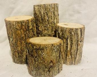 Rustic Wood Log Stumps - set of 4 - rustic wood decorations- rustic wedding, rustic table centerpiece