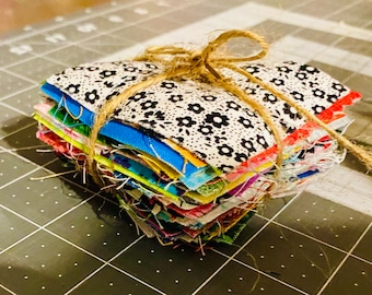 100 assorted 2.5 inch fabric squares