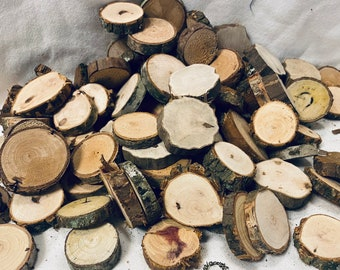 Mini wood slices - 1 1/2 inches- assorted types - 50 slices - rustic decor- vase filler - wooden craft disc -