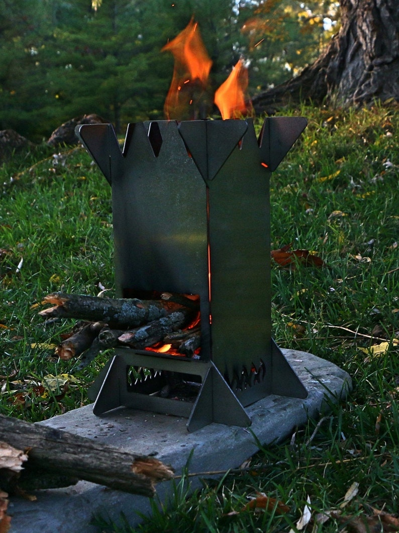 Flat Pack Rocket Stove  Collapsible Portable Stainless image 6