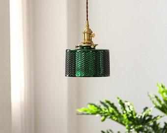 Green Glass Pendant Light Plug In Hanging Lighting Fixture Home Decor Lighting Nordic Scandinavian Ceiling Lamp Art Deco Contemporary Modern